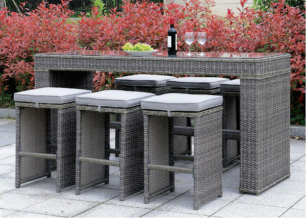 Grey Outdoor bar height table with bar stools wicker - Olympia Furniture West Valley