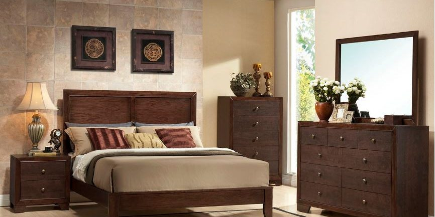Bedroom Furniture King Bed and Mattresse with Dresser and chest and night stand e - Salt Lake Furniture