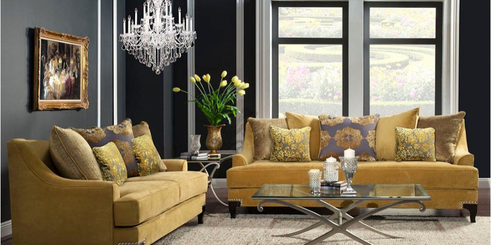 Yellow Sofa Living Room - Olympia West Jordan